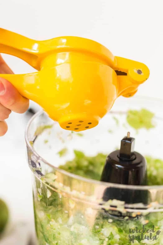 Fresh Tomatillo Salsa Recipe - Adding garlic to ingredients in food processor