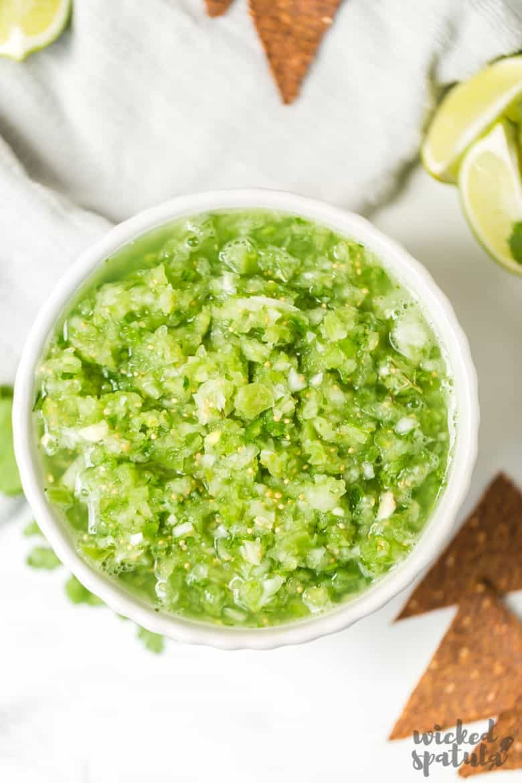 Fresh Tomatillo Salsa Recipe - Closeup Of Bowl Of Salsa
