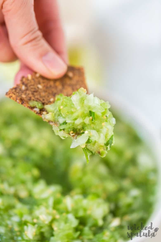 Fresh Tomatillo Salsa Recipe - Chip With Salsa