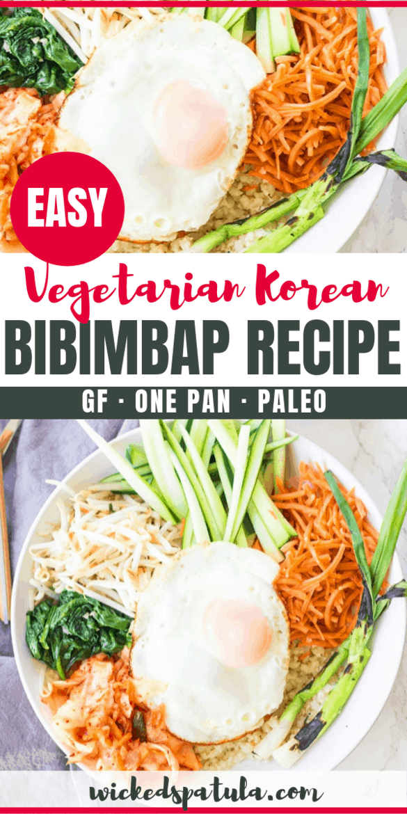 Vegetarian Korean Bibimbap Recipe Cauliflower Rice Bowl Wicked Spatula