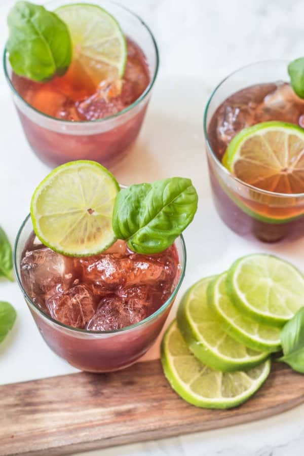 Black Cherry Basil Mocktail - 4 ingredients and no added sugar!