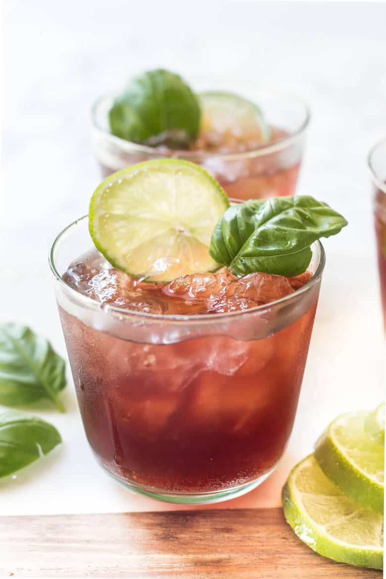 Black Cherry Basil Mocktail sideview