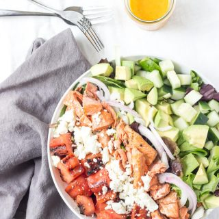 This chopped grilled watermelon salmon salad is packed full of textured goodness ranging from creamy avocado, crunchy red onion + cucumber, salty feta, and of course the grilled salmon and grilled watermelon