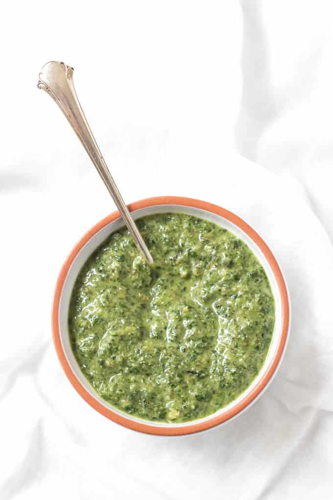 bowl of pesto with zucchini noodles