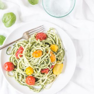 Spiralized Walnut Pesto Zucchini Noodles with Blistered Tomatoes - healthy, light, and SO fresh!