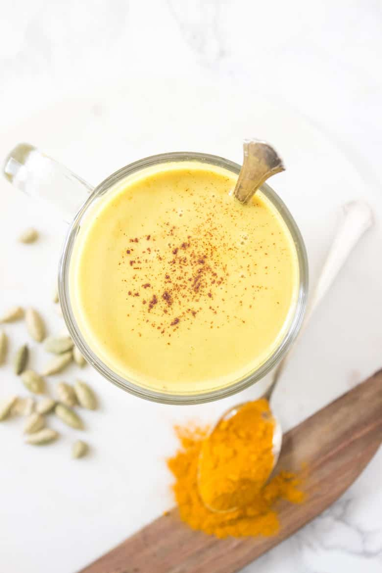 This upgraded turmeric latte is packed with inflammation fighting spices along with protein to heal and calm your gut.