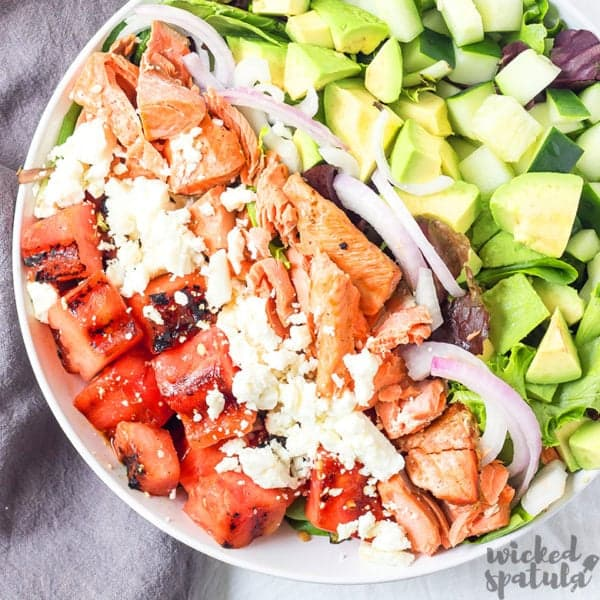 grilled watermelon salad in bowl