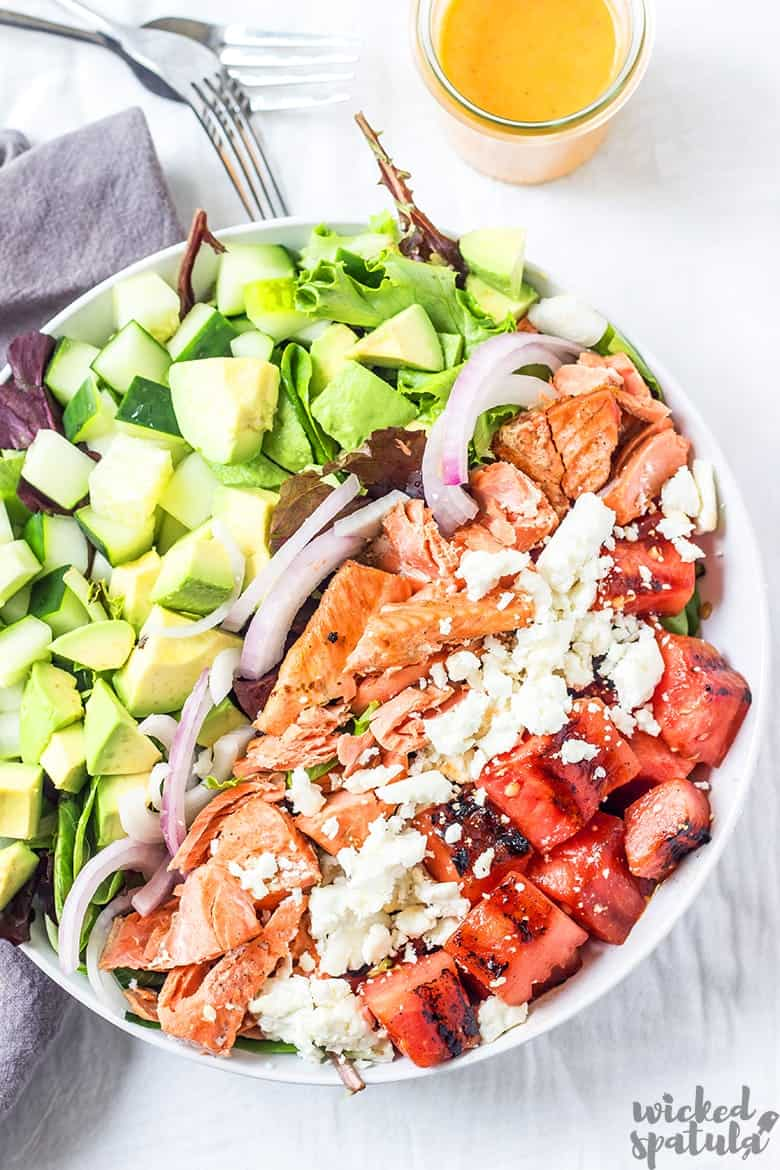 healthy salmon salad in a bowl