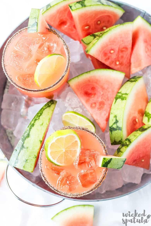 Watermelon margarita in bowl of ice