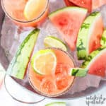 Watermelon margarita in bowl of ice