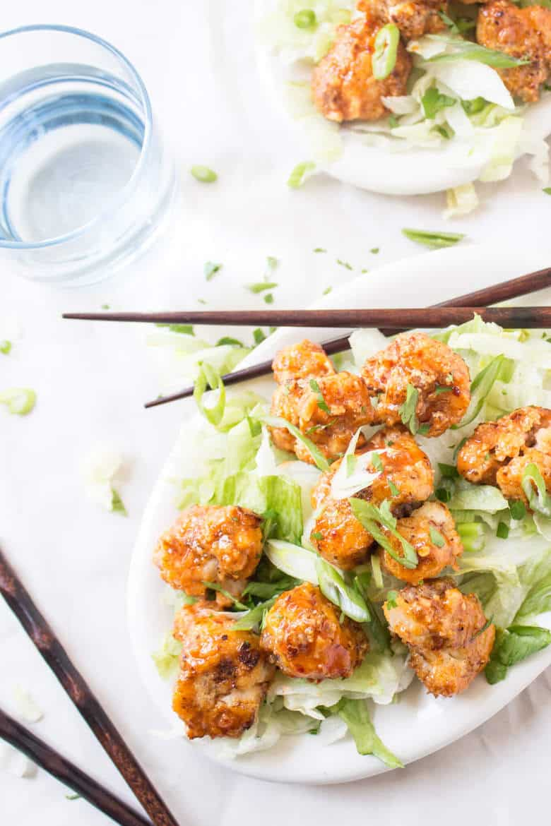 Bang Bang Shrimp vegetarian style! This recipe for Bang Bang Cauliflower is totally gluten free and paleo friendly! A great appetizer or light meal!