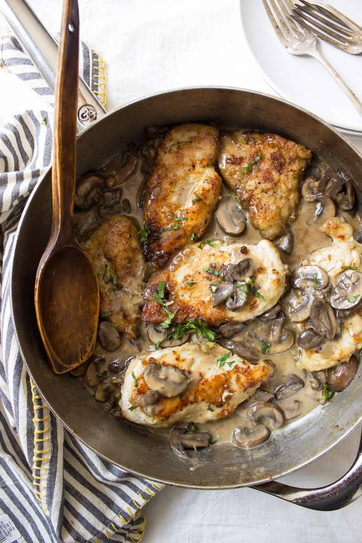 Dairy Free Creamy Mushroom Chicken Skillet finished meal
