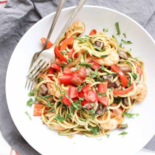 One Pot Cajun Shrimp Zucchini Pasta - GF, DF, Paleo Friendly! This is a great easy weeknight dinner!