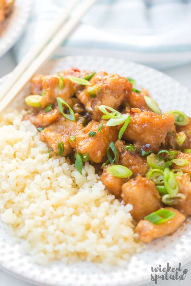 plate with healthy general tso chicken