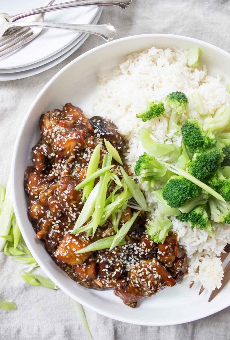The sauce is the star in this Paleo Slow Cooker Sesame Chicken! The slow cooker gets it thick and sticky just like your favorite takeout
