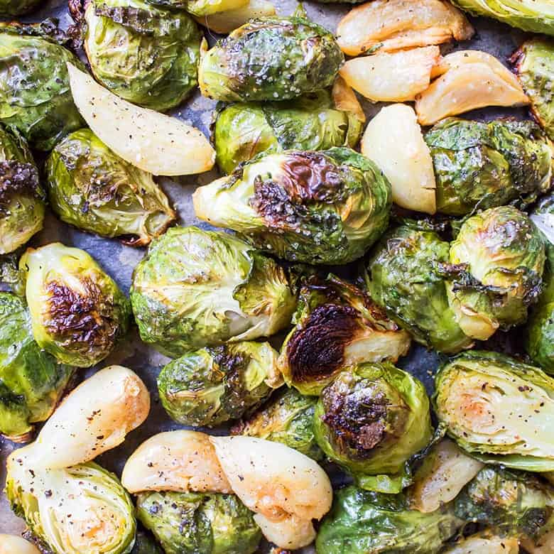 Easy Oven Roasted Brussels Sprouts Recipe With Garlic Wicked Spatula