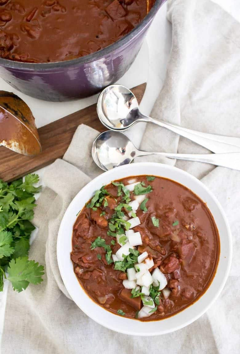 This Vegan and Paleo (bean free) Mexican Chocolate Walnut Chili is sure to please everyone despite food preferences or allergies!