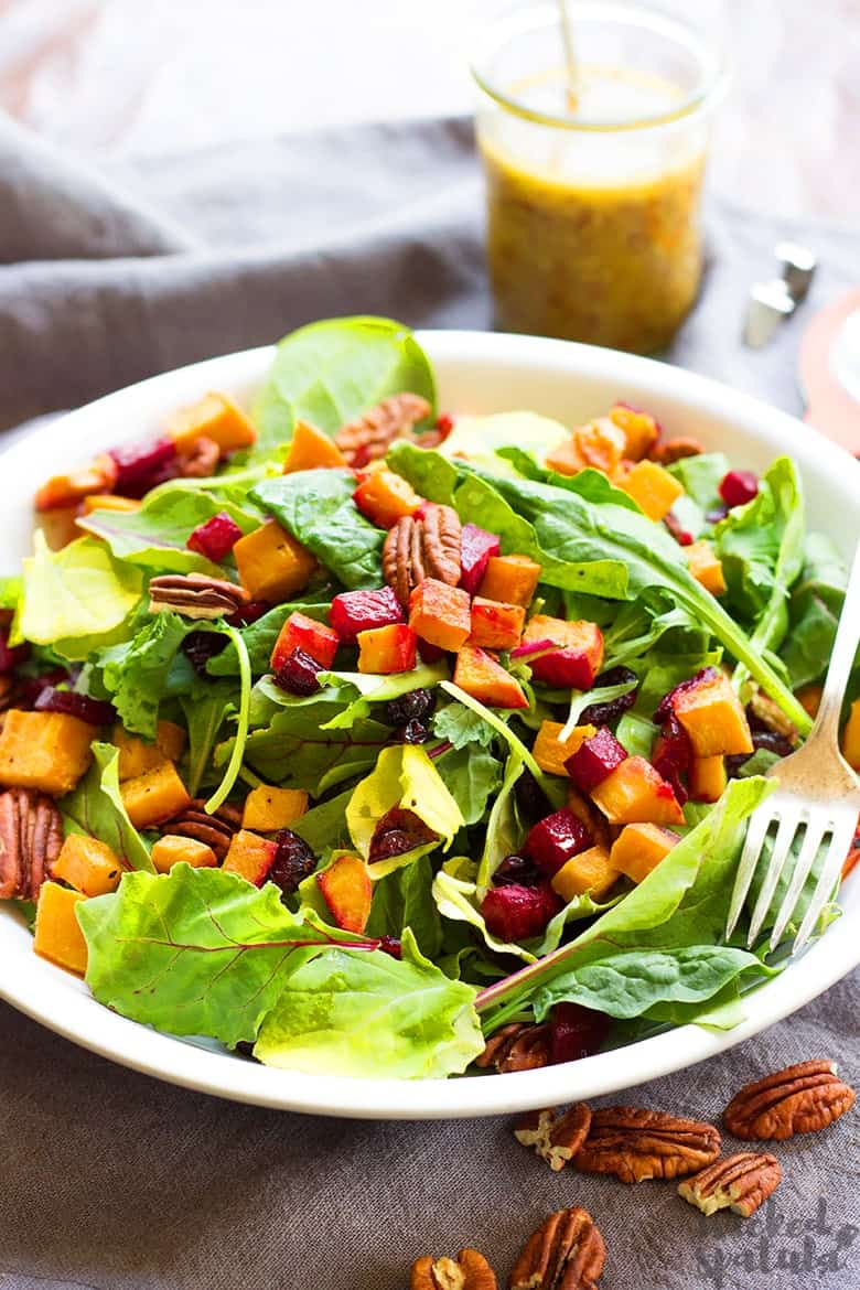 autumn salad with maple mustard dressing