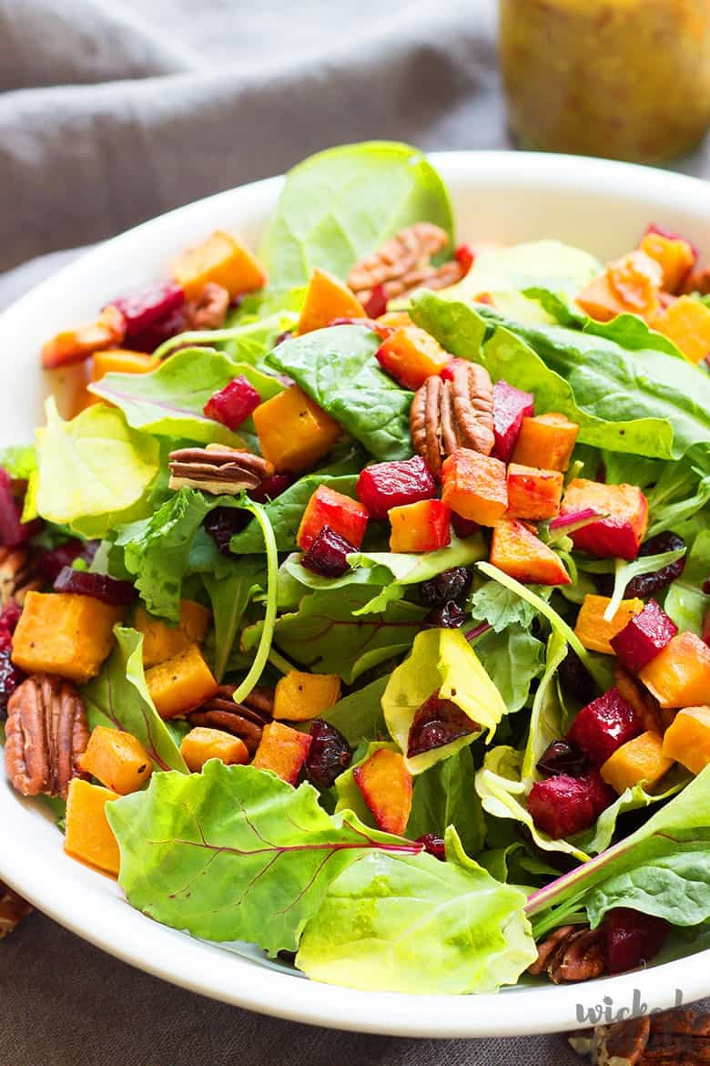 fall salad recipes on a plate with roasted sweet potatoes and beets