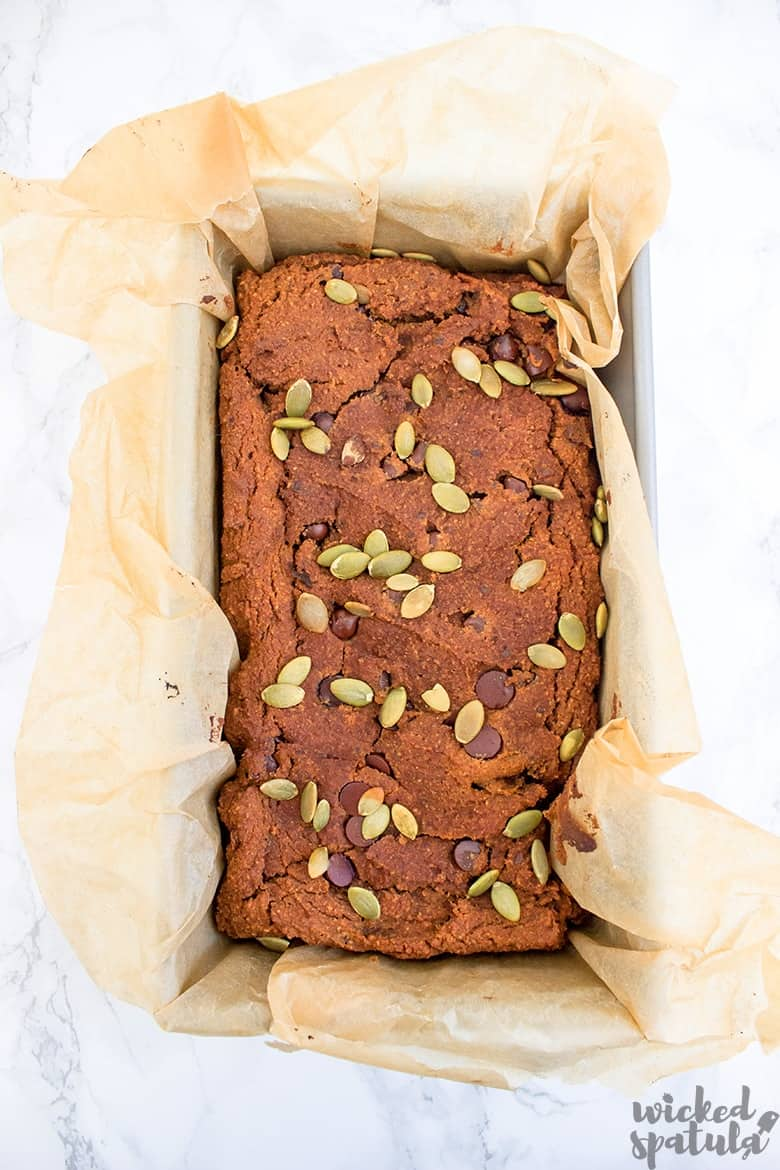 pumpkin chocolate chip bread in baking pan