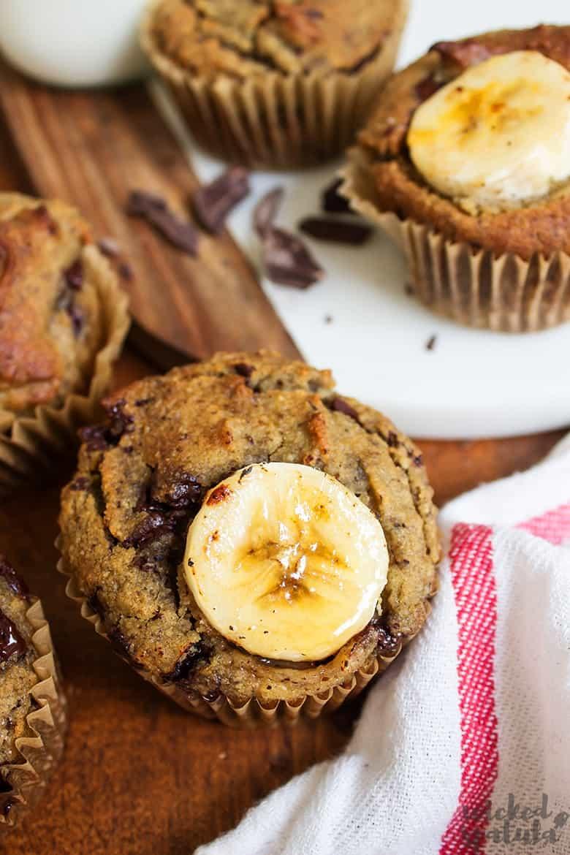 vegan banana muffins on board