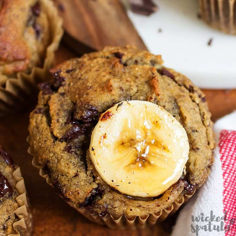 paleo banana muffins with banana coin on top
