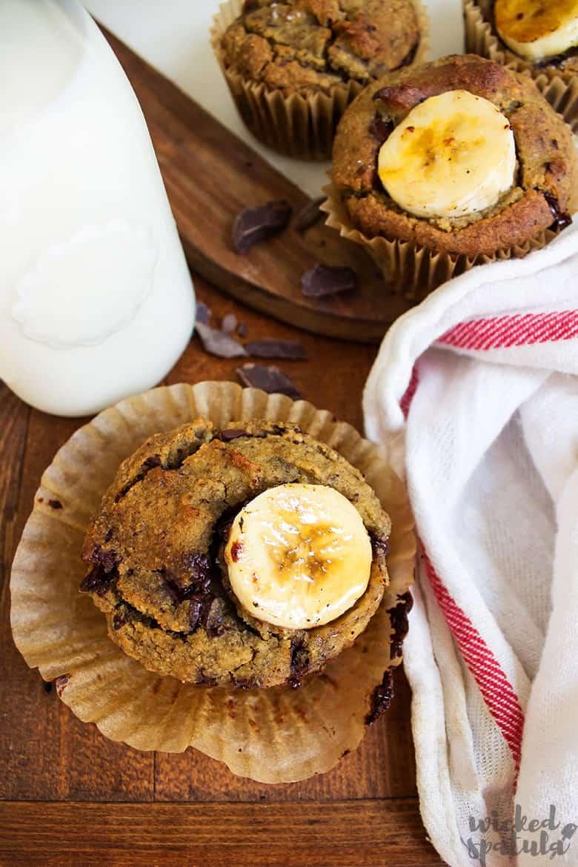 chocolate banana muffins with milk