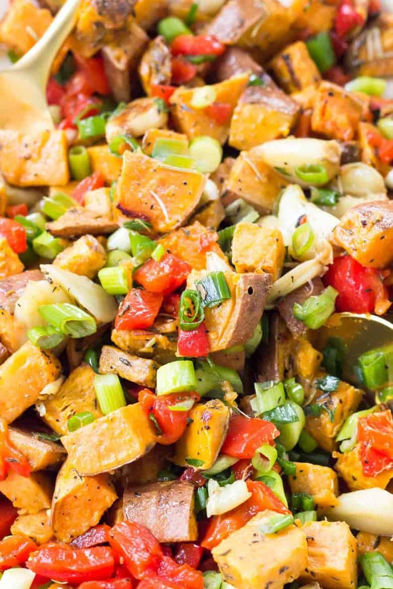 This Roasted Sweet Potato Salad is an easy side dish that's perfect for on the go lunches, picnics, dinners, and holidays!
