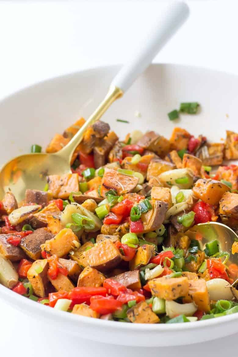 Roasted Sweet Potato Salad finished with spoon