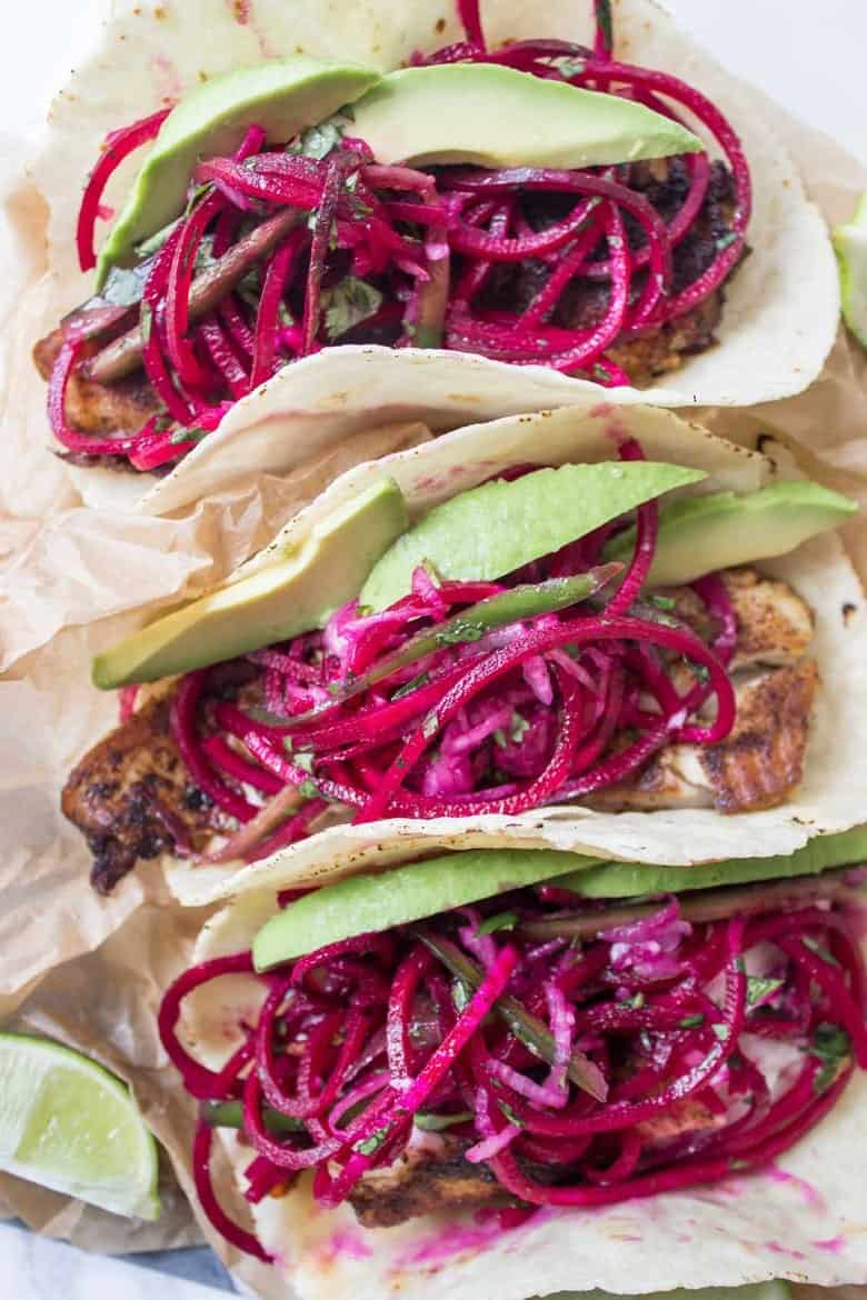 Spicy Fish Tacos with Beet Slaw - Wicked Spatula