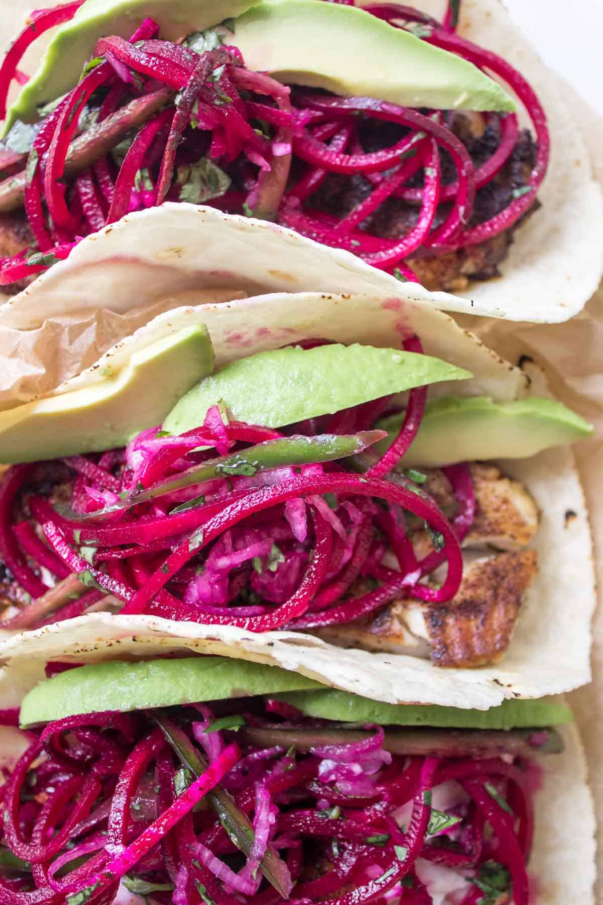 Spicy Fish Tacos with Beet Slaw - gluten free, healthy, and delicious!