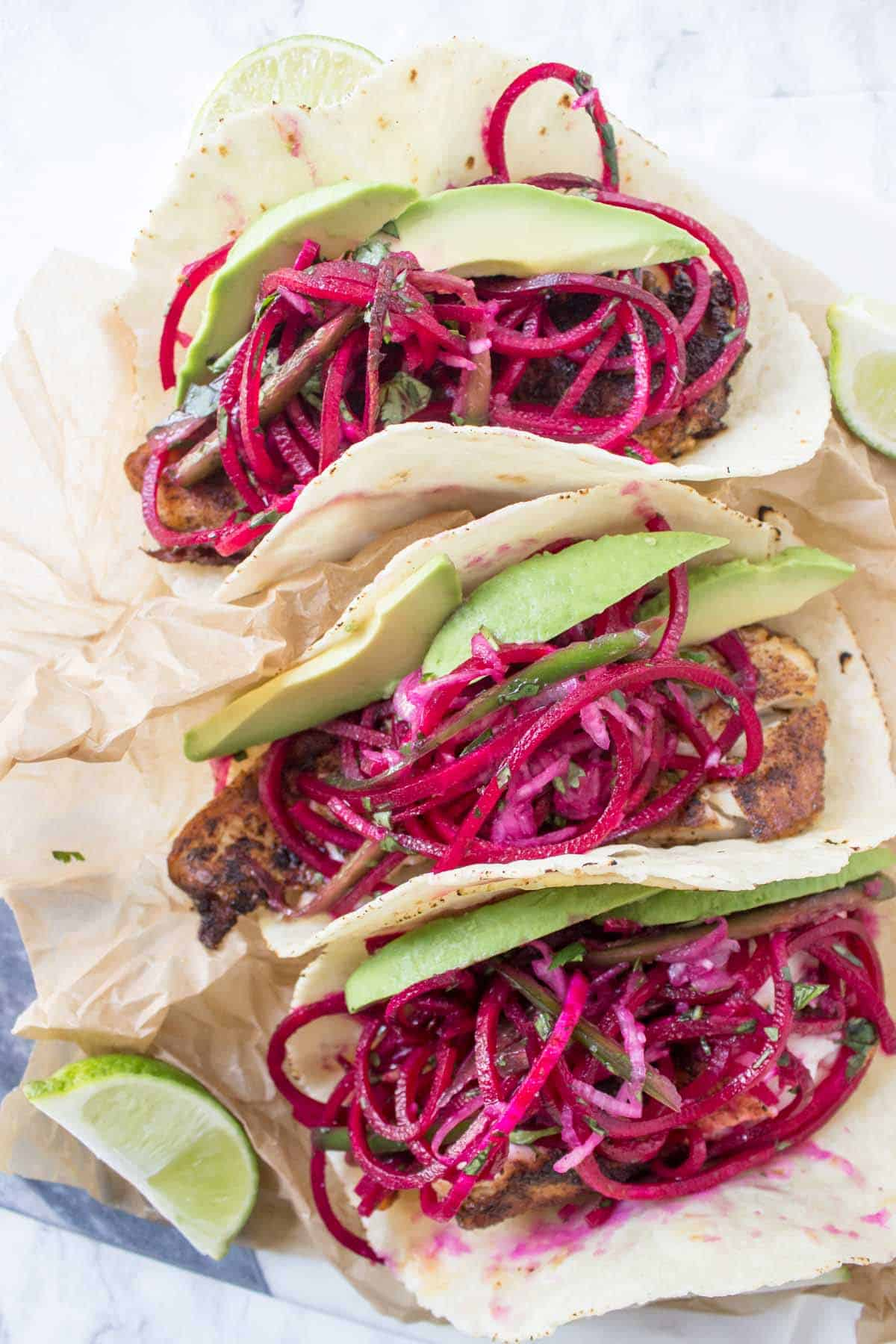 Spicy Fish Tacos with Beet Slaw finished