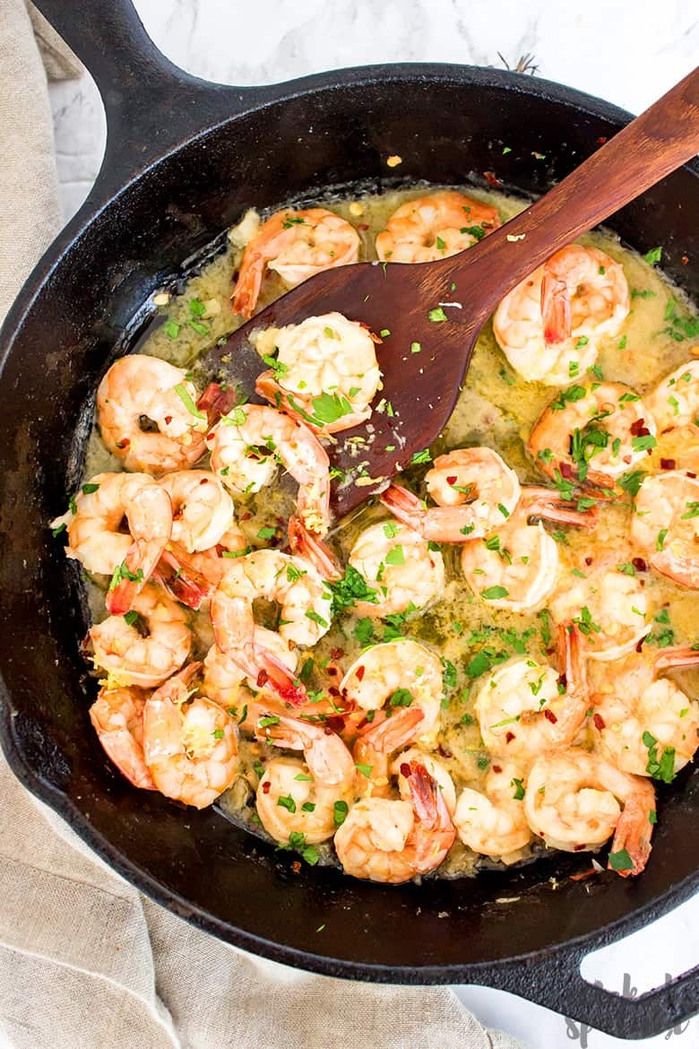 paleo shrimp scampi in cast iron skillet