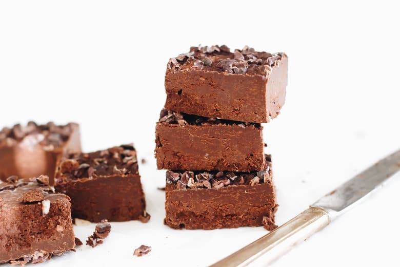 Date Sweetened Peppermint Cacao Nib Fudge piled side view