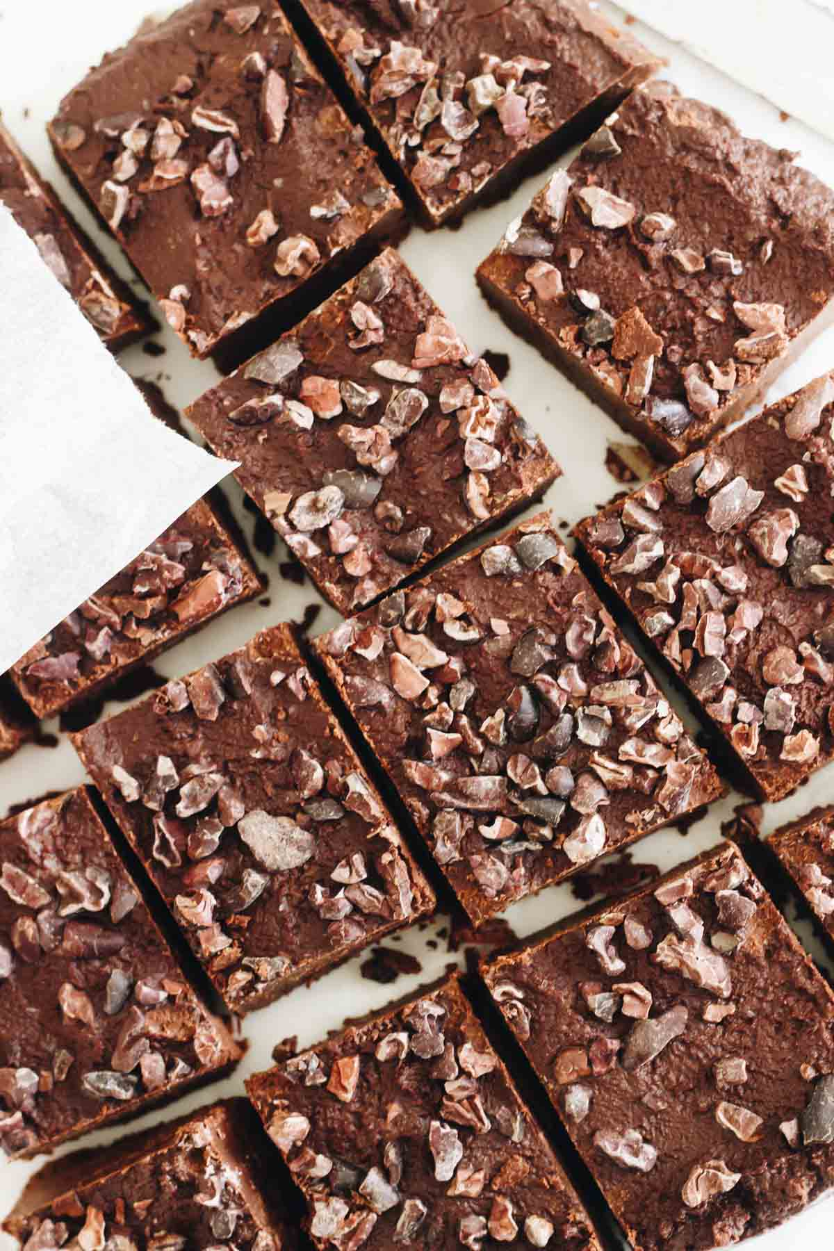 Date Sweetened Peppermint Cacao Nib Fudge top view