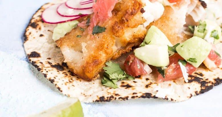 AIP Crispy Fish Tacos with Grapefruit Avocado Salsa {paleo, gluten free}