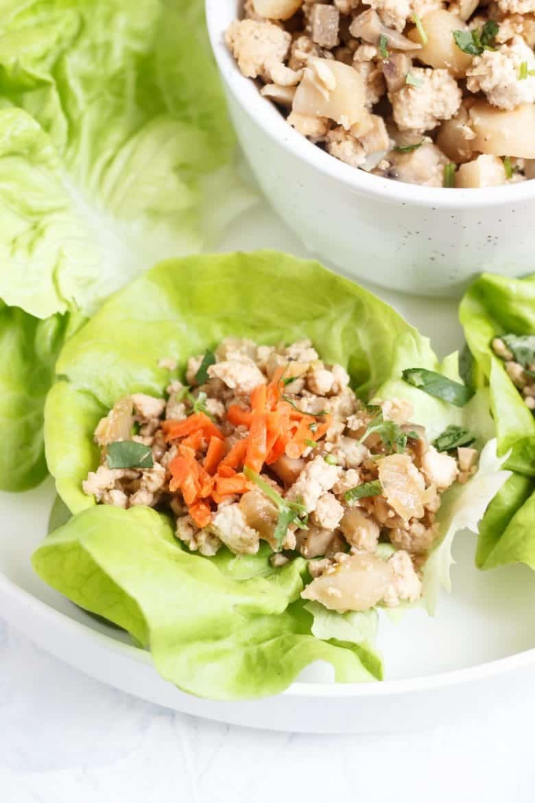 These Paleo Chinese Chicken Lettuce Cups are packed with flavor and only take 30 minutes to throw together! This is also a AIP and Whole30 recipe!