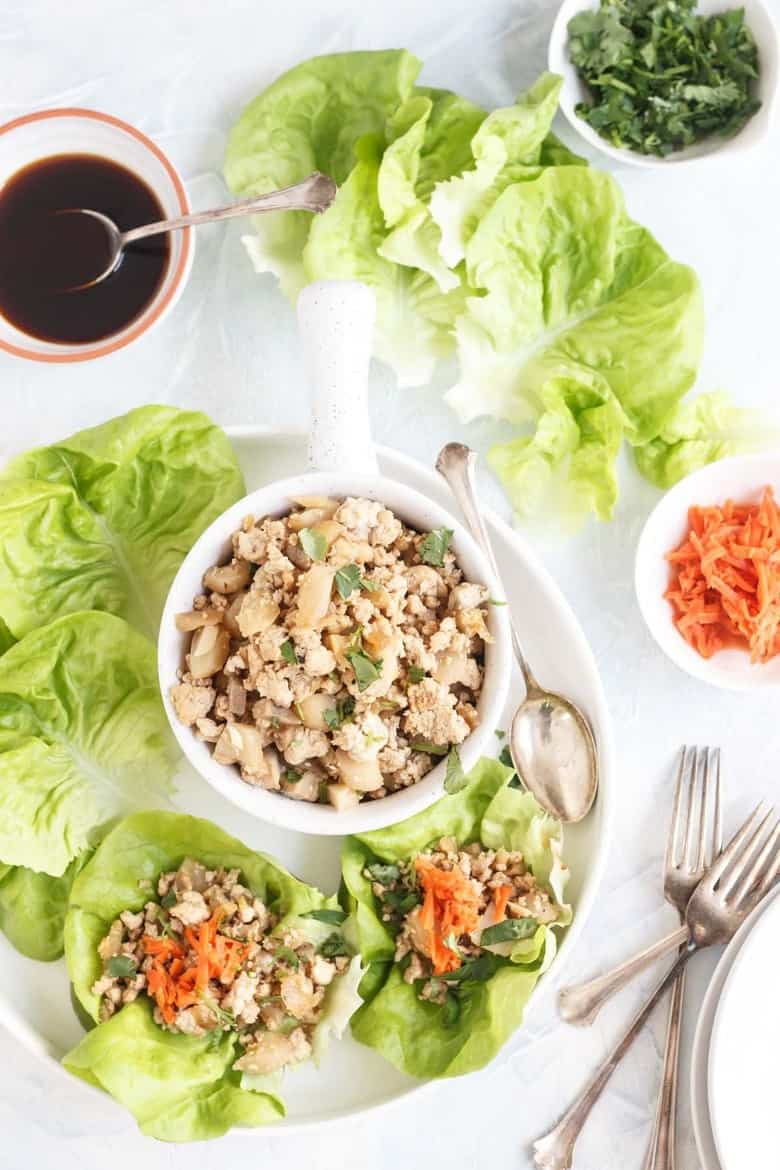 Paleo Chinese Chicken Lettuce Cups top view