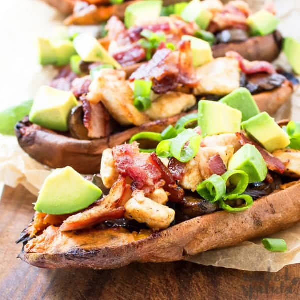 sweet potato skins recipe topped with avocado