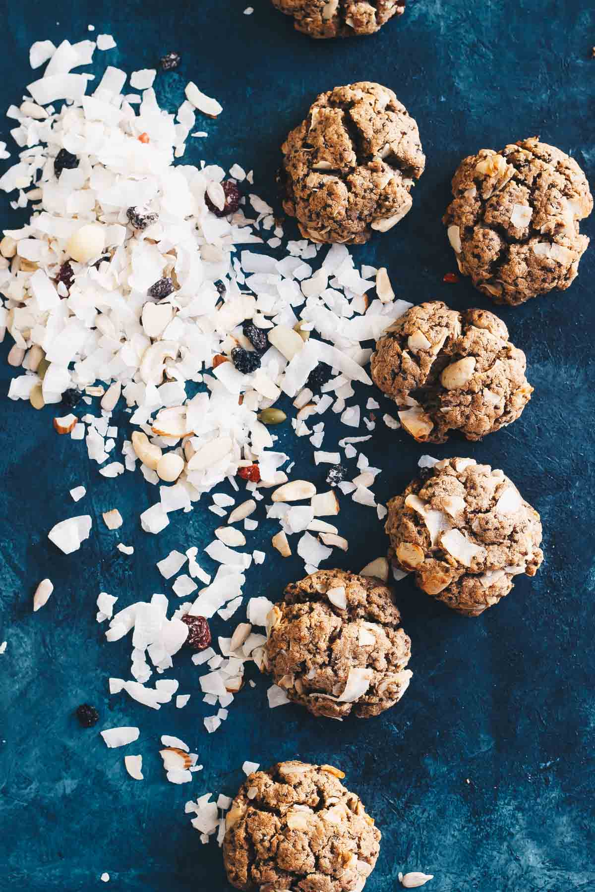 These Paleo Muesli Cookies are made in one bowl with only 1 tablespoon of maple syrup for the ENTIRE batch! A great low sugar dessert! They're also vegan.