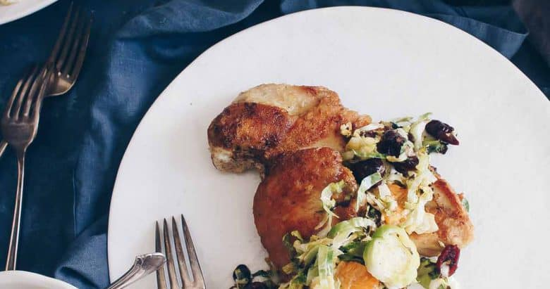 Pan Seared Chicken with Winter Brussels Sprout Slaw
