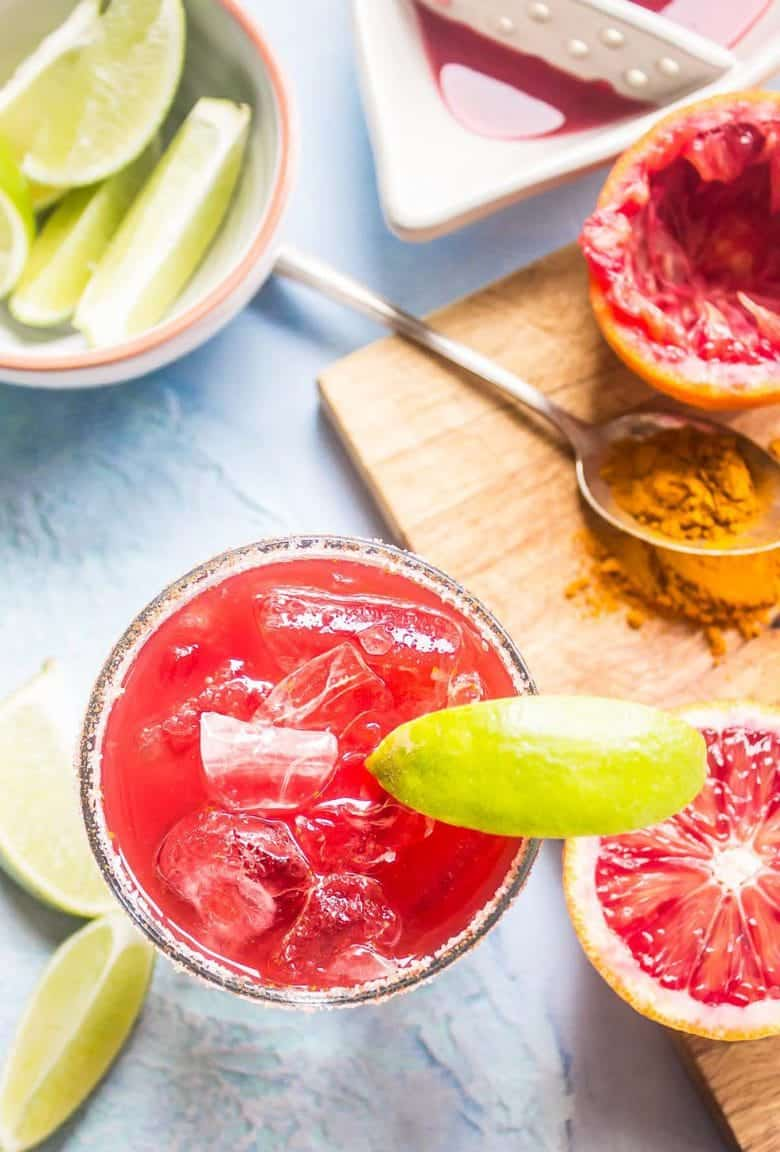 This blood orange mezcal margarita is dangerously delicious with its smooth smoky flavor. Perfect for Valentine's day or any day of the week if you ask me.