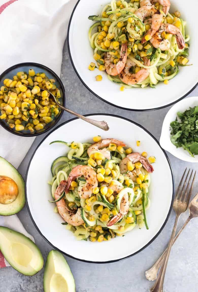 You won't miss the pasta in this spicy zoodle dish! The creamy avocado sauce goes perfectly with spicy grilled shrimp and a sweet corn salsa.