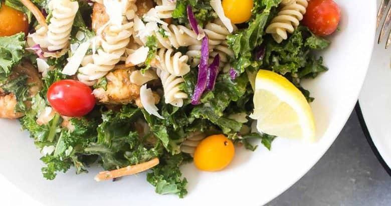 Caesar Shrimp and Kale Pasta Salad (gluten free!)