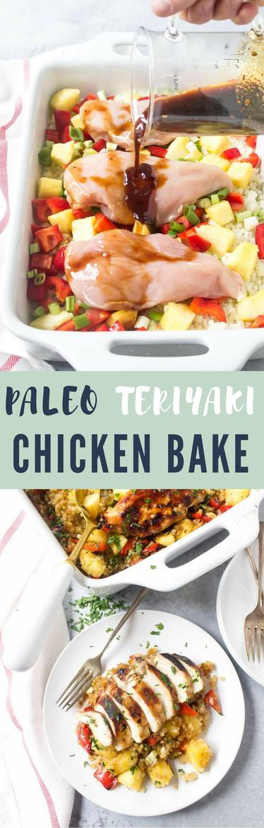 This Paleo Teriyaki Chicken Bake is loaded with cauliflower, red bell peppers, pineapple, green onions, and a quick homemade paleo teriyaki sauce! I love this recipe for batch cooking at the start of the week and it even freezes well.