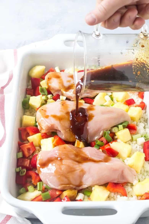 Pouring teriyaki sauce