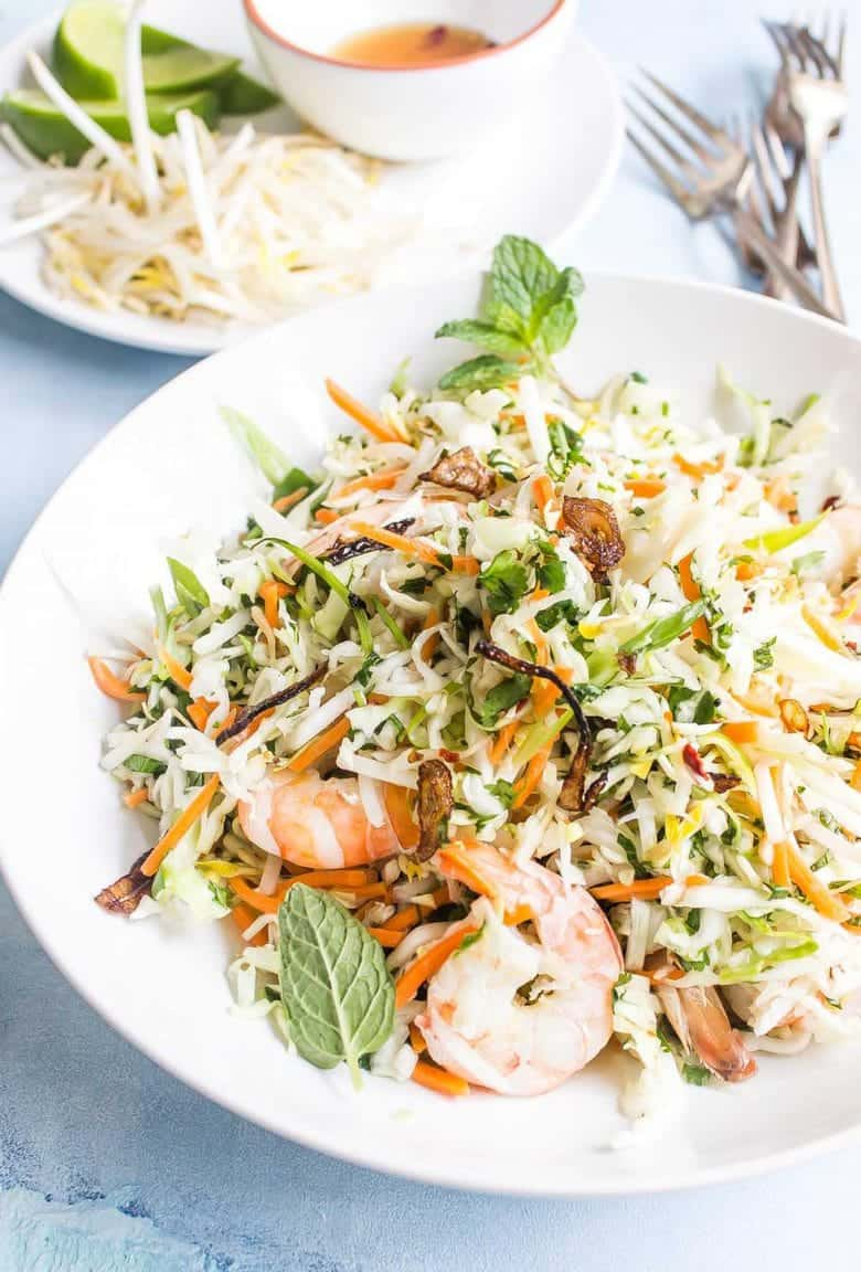 Paleo Vietnamese Shrimp Salad - this vibrant and fresh salad is packed with crunchy vegetables, tons of fresh herbs, and a delicious tangy dressing.