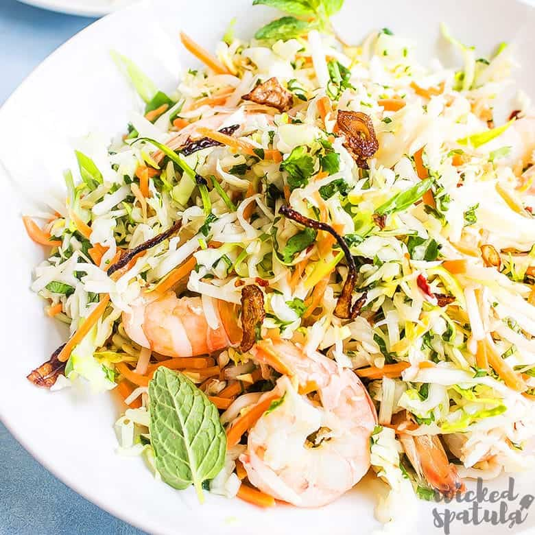 Vietnamese shrimp salad in a bowl ready to eat