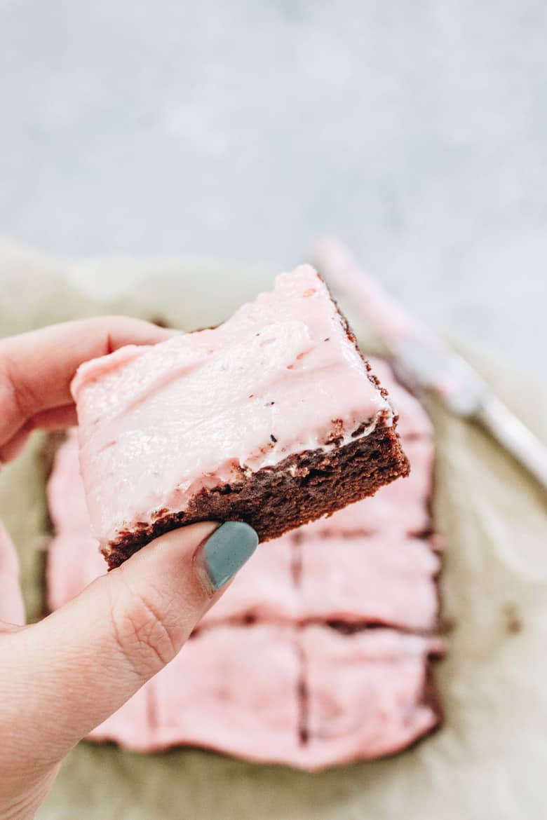 These decadent one bowl gluten free brownies are made with simple ingredients! The mixed berry buttercream is the perfect icing on the cake, um brownie!