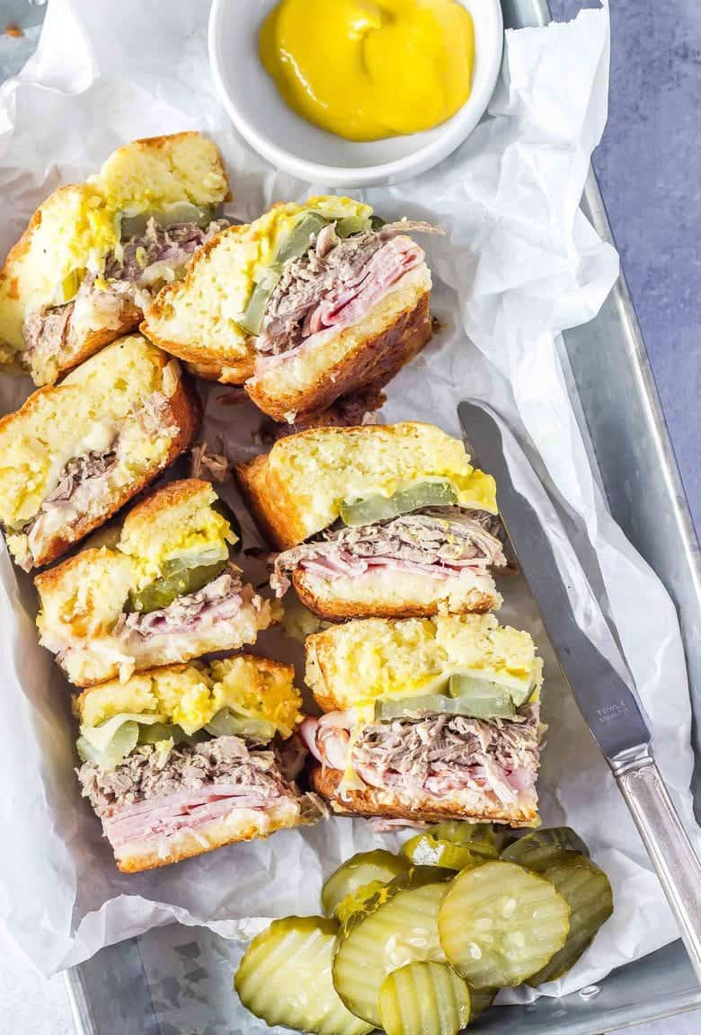 These Keto Cuban Sliders from @castironketo are the perfect #keto sandwich!